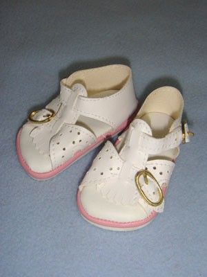 Sandal W Buckles 3 Quot White W Pink