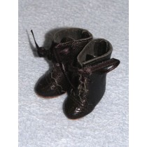 """1 1_2"""" Black Real Leather French Boot Lace Up"""