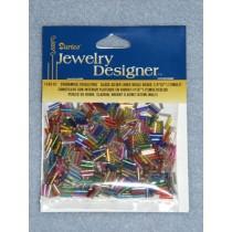"1_4"" Glass Silver Lined Bugle Beads - Multi Asst. - 6 gram"