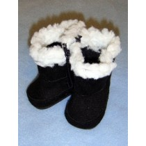 "2 3_4"" Black Fuzzy Boots"