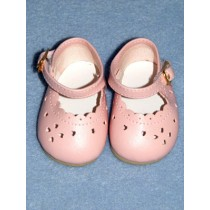"2 3_4"" Pink Heart Cut Baby Shoes"