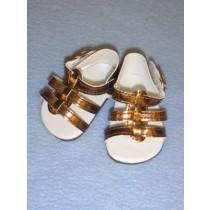 """2 5_8"""" Metallic Copper Strappy Sandals"""