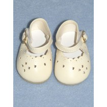 "|2 7_8"" Light Cream Heart Cut Baby Shoes"