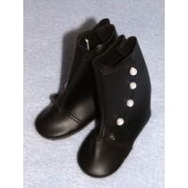 "3 1_4"" Black High Button Boots"