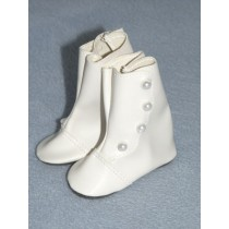 "3 1_4"" White High Button Boots"