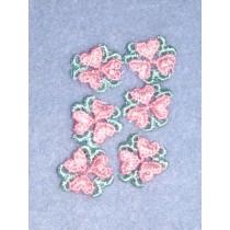 """3_4"""" Pink Tri-Heart Applique - Pkg_25"""