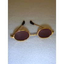"3"" Gold Oval Sunglasses"