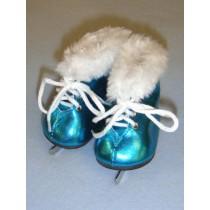 """3"""" Metallic Turquoise Furry Ice Skates"""