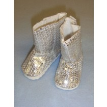 """3"""" Silver Sequin Boots"""