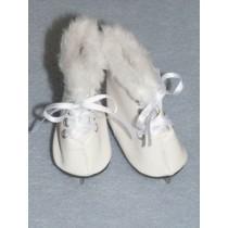 """3"""" White Fur-Trimmed Ice Skates for 18"""" Dolls"""