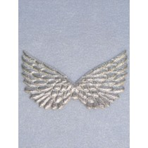 "|4 3_4"" Silver Embossed Angel Wing - Pkg_2"