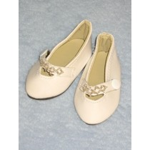 """Beaded Party Shoes - 3"""" White"""