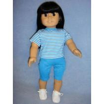 "Blue & White Striped T-Shirt for 18"" Dolls"
