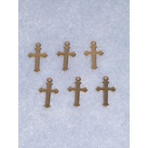 "Charm - Gold Cross - 5_8"" Pkg_6"