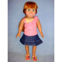 "|Coral Shirt & Jean Skirt for 18"" Doll"