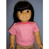 "Dark Pink & White Striped T-Shirt for 18"" Dolls"