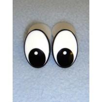 Eye - Oval 25mm Black_White Pkg_50