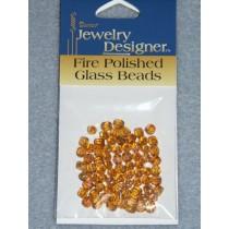 Fire Polished Czech Glass Beads - 4mm Amber - Pkg_75