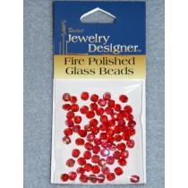 Fire Polished Czech Glass Beads - 4mm Red - Pkg_75