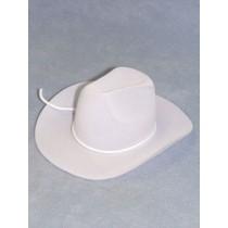 "Hat - Flocked Cowboy - 3"" White"
