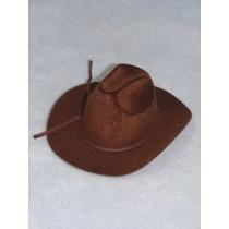 """Hat - Flocked Cowboy - 6"""" Brown"""