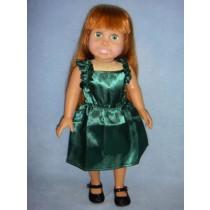 "|Hunter Green Ruffle Dress for 18"" Dolls"