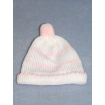 "Knit Baby Cap - 10"" White & Pink"