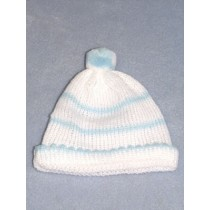"Knit Baby Cap - 12"" White & Blue"