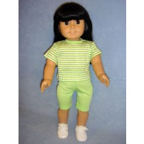 """Lime Green & White Striped T-Shirt for 18"""" Dolls"""