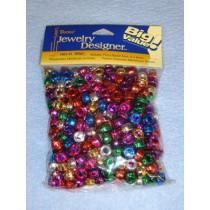 Metallic Pony Beads  6x9mm 380 pcs