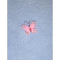 """Organza Butterflies - 1"""" Light Pink Pkg_12"""