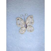 """Organza Butterflies - 2"""" Silver Pkg_12"""