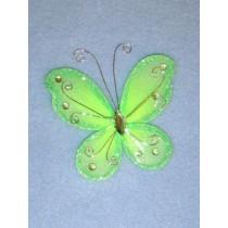 """Organza Butterflies - 3"""" Apple Green Pkg_12"""