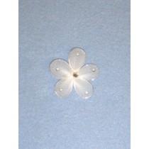 """Organza Flowers - 1 3_8"""" White Pkg_12"""