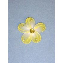 "Organza Flowers - 2 1_4"" Yellow Pkg_12"