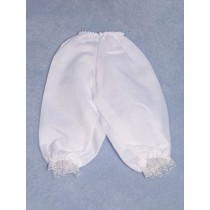 "|Pantalettes w_Lace Trim - White - 24"" Doll"