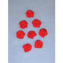 """Ribbon Roses - 5_8"""" Red - 8 pcs"""