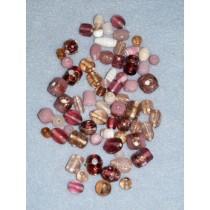 Rose Handblown Glass Bead Mix - 100 gr