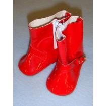 "Shoe - Rain Boot - 3"" Red w_zipper"