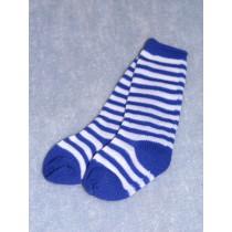 """Sock - Striped Knee 18-20"""" Blu_Wht4"""