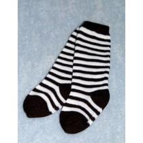 """Socks-Striped Knee-18-20"""" Blk_Wht 4"""