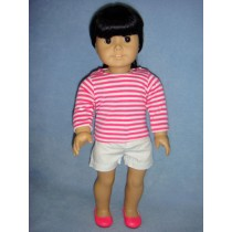 "|Striped Shirt & White Shorts for 18"" Dolls"