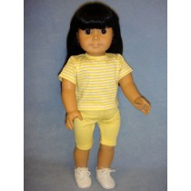 """Yellow & White Striped T-Shirt for 18"""" Dolls"""
