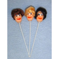 "|1 1_4"" Clown Heads on Stems - Pkg_12 Assorted"
