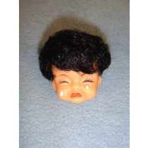 " 2"" Crying Baby Head w_Black Hair"