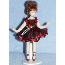 """ 5 1_2"""" Porc. Ballerina Doll w_Auburn Hair"""