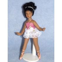 """ 5 1_2"""" Porcelain Ballernia Doll w_Black Hair and Dk Skin"""