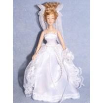 " 7 1_2"" Porcelain Bride Doll w_Blonde Hair"