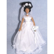 " 7 1_2"" Porcelain Bride Doll w_ Dark Skin"