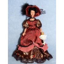 " 7 1_2"" Porcelain Hispanic Victorian Doll w_Black Hair"